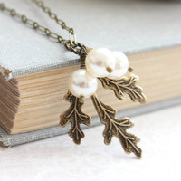 Branch Necklace Ivory Off White Pearls Rustic Wedding Nature Inspired Bridesmaids Gifts Antique Brass Branch Woodland Charms Womens Gift