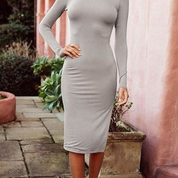 Gray Split Side Open Back Long Sleeve Bodycon Dress