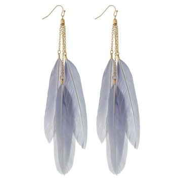 Long Blue/Gray Feather Earrings