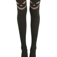 Blackheart Jack-O-Lantern Face Black Tights