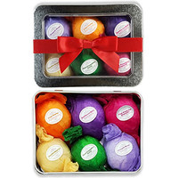 Bath Bomb Gift Set USA - 6 Vegan All Natural Essential Oil Lush Fizzies. Organic Shea and Cocoa Soothe Dry Skin....