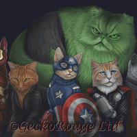 Cat Cross Stitch Kit, 'Catvengers', Jenny Parks, Cat Needlecraft Kit, Comic Book Characters, Modern Cross Stitch, Large Counted Stitching