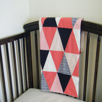 Small Baby girl FLEECE triangle patchwork blanket - coral / watermelon navy nursery - ombre blanket 29in. x 39in.