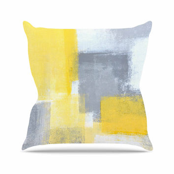 "CarolLynn Tice ""Steady"" Yellow Gray Throw Pillow"