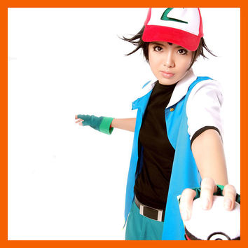 2016 Hot Pokemon Go High Quality Blue Ash Ketchum Trainer Poke Ball Cosplay Costume Jacket Gloves Hat Ash Ketchum Costume