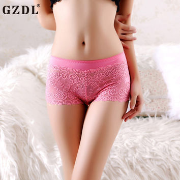 GZDL Sexy Ladies Underwear  Low-Waist Lace Mesh Floral Soild Ruffles Lot Underwear Boxer Knickers Women pantues Lingerie NY287