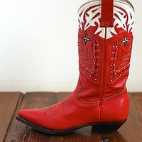 Free People  Vintage Red Leather Cowboy Boots at Free People Clothing Boutique