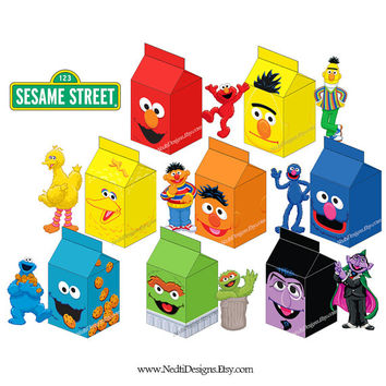 Sesame Street Printable Milk Carton Box Template, DIY, Party Gift Box, Paper Favor Box, Candy Box, Party Supplies, Instant Download
