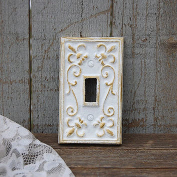 Switch Cover, Shabby Chic, Whiter, Gold, Single, Wall Plate, Ornate, Fleur de Lis, Cast Iron