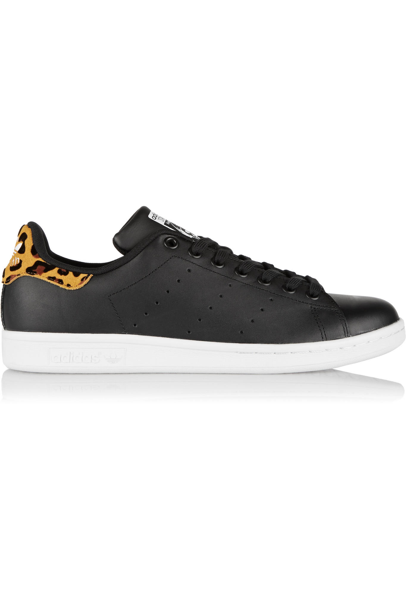 adidas Originals - Stan Smith leopard print-trimmed leather sneakers 6242d7e4a
