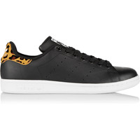 adidas Originals - Stan Smith leopard print-trimmed leather sneakers