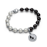 Amulet Positive Powers Simulated Pearl White and Black Yin Yang Magic Circle Energy Elegant Bracelet