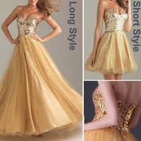 New Sequins Attire Bodice Short Long Bridal Prom Homecoming Party Dress Sz 2~16
