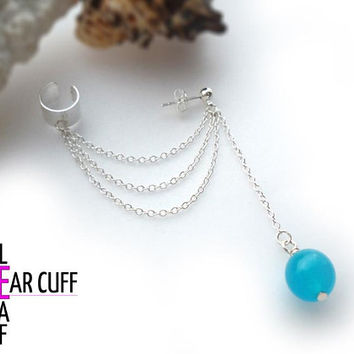 Simple Pearl Ear Cuff - Blue - Ear cuff with chains, chain ear cuff, cuff earrings, chain earrings, dangle earrings,blue bead earring