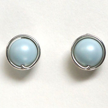 Pastel Blue Pearl Stud Earrings, Light Blue Earings, Wire Wrapped Jewelry Handmade, Blue Jewelry