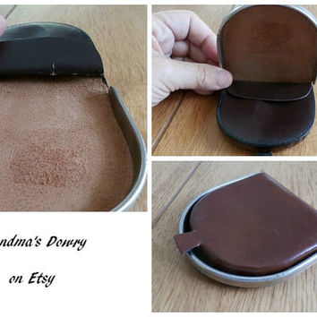 Vintage Folded Coin Purse, Genuine Leather Coin Bag, Chocolate Brown Coin Wallet, Coin Purse, Men Coin Wallet, Gentleman Accessory