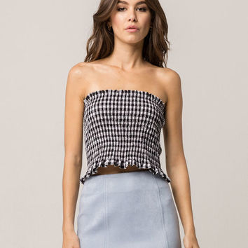 HEART HIPS Black Gingham Womens Tube Top