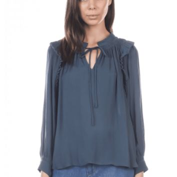 Women's Ruffle Shoulder Blouse with Split Neck