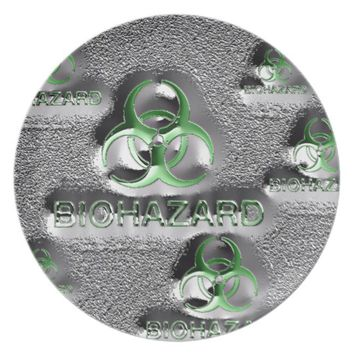 biohazard fallout contamination sign toxic green melamine plate