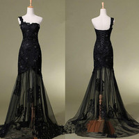 New Black Lace Evening Dress with Beading and embroidery  Bridesmaid Dress Black Formal Dress with One Shoulder