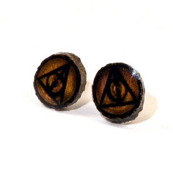 Deathly Hallows Earrings, Deathly Hallows Studs, Harry Potter Earrings, Deathly Hallows Jewelry, Wooden Studs, Wood Burned Studs