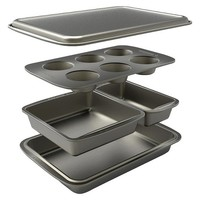 Baker's Secret 5 Piece Bakeware Set - Gray