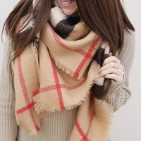 Holiday Plaid Blanket Scarf {Camel}