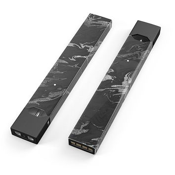 Skin Decal Kit for the Pax JUUL - Black & Silver Marble Swirl V3