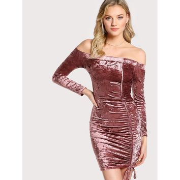 Off Shoulder Velvet Mini Dress MULBERRY