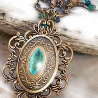 Brass Locket Necklace with Emerald stones SALE by Aranwen on Etsy