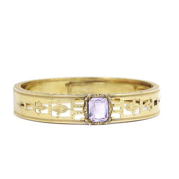 Art Deco Bracelet Lilac Glass 1920s Filigree Hinged Bangle Gold Filled Openwork Design with Lilac Glass Stone