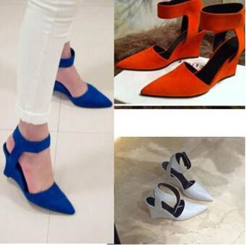 Women Wedges Shoes Fashion Brand Ankle Pointed Toe Pumps Sexy Sandals High Heels Black