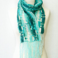 Crochet scarf lace scarf spring scarf turquoise ombre scarf long scarf with fringes blue white teamt tagt team