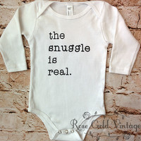 The Snuggle is Real Long Sleeve Onesuit - White (Infant)
