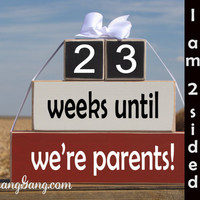 "Photography prop. Baby/pregnancy countdown blocks. Baby Shower gift. -""weeks until we're parents.""  Shower hostess gift. Red, Black, White"