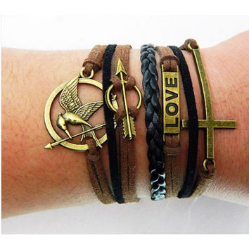 Hunger games,Mockingjay pin,Cross Bracelet,Arrow Bracelet,Love bracelet,Mockingjay bracelet,Couples bracelet,lover bracelet,leather bracelet,hipsters jewelry,braided bracelet