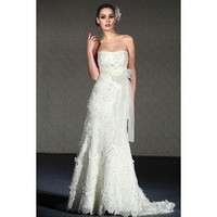 Sheath / column strapless lace wedding dress