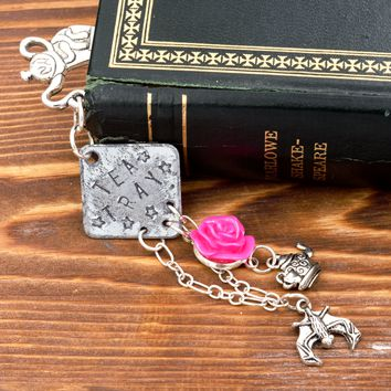 Alice in Wonderland Bookmark Mad Tea Party Tea Tray with Rose, Bat & Teapot Charms