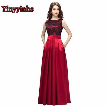 Yinyyinhs Dark Red Backless Evening Dresses A Line With Pockets Lace Satin Long Prom Dress Plus Size Formal Party Gown CG014