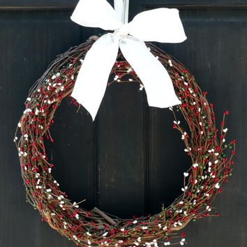 Christmas Pip Berry Wreath Red White Green Wreath Primitive