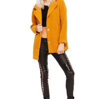 Mustard Yellow Plush Faux Fur Shaggy Coat