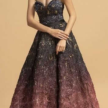 Mauve Ombre Sweetheart Neckline Long Prom Dress
