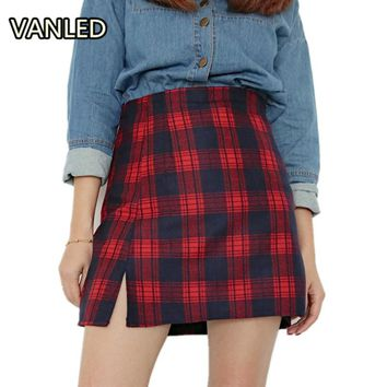 Vintage Preppy Style Plaid Skirts High Waist Casual Women Zipper Skirts