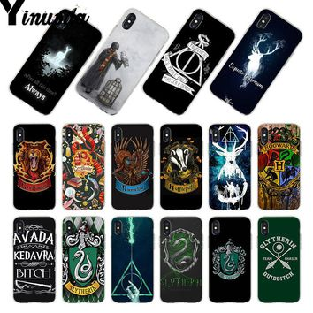 Yinuoda For iphone X 7 XS MAX Case Harry Potter always Slytherin School Phone Case for iPhone 8 7 6 6S Plus X 5 5S SE 5C XR