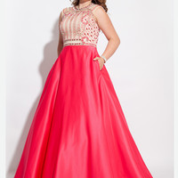 Rachel Allan 7440 Cap Sleeves Plus Size Prom Dress