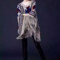 Multi Geometric Print Tassel Cape Sweater