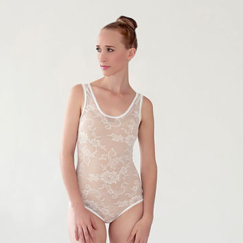 Wedding Lingerie, Light ivory lace bodysuit, see through bodysuit sheer lace leotard