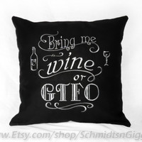 "Adult wine humor 16x16 inch "" GTFO "" embroidered Pillow Cover in black 2 shades of grey thread snarky Funny vino connoisseur gift p"