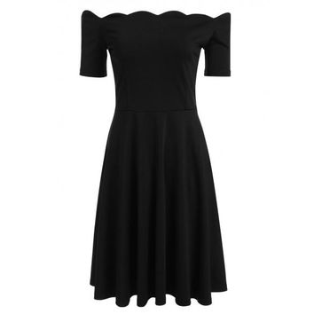 Short Sleeve Off Shoulder Scallop Trim Pleated Dress