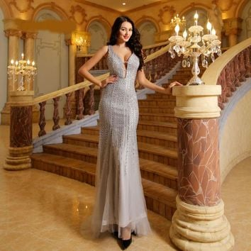 Formal Evening Dresses Long Deep V-neck Sleeveless Beading Prom Dress Sexy Backless Mermaid Party Gown